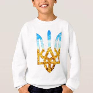 Ukrainischer tryzub Hintergrund des Weizens und Sweatshirt