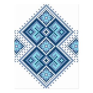 Ukrainisches Stickereiblau vyshyvanka Postkarte