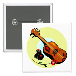 Ukulele-Kastagnetten-Rosen-Entwurfs-grafisches Mus Quadratischer Button 5,1 Cm