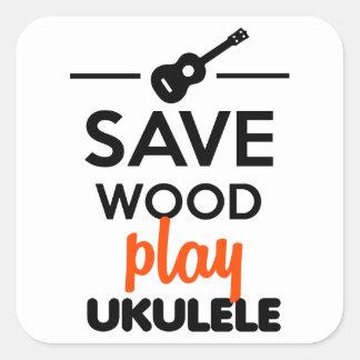 Ukulele-Musikinstrument - retten Sie hölzernes Quadratischer Aufkleber