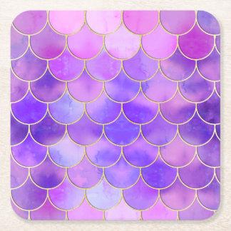 Ultraviolettes u. Goldmeerjungfrau-Skala-Muster Rechteckiger Pappuntersetzer
