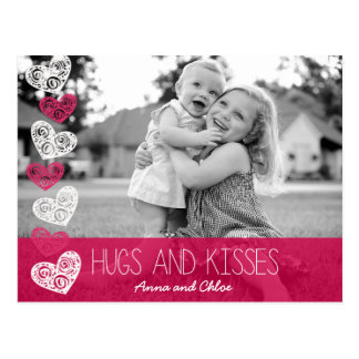 Umarmungen und Kuss-Foto-Postkarte Postkarte