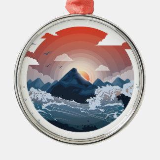 Umgeben durch Sturm Rundes Silberfarbenes Ornament