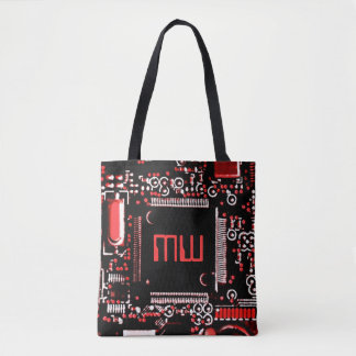Umkreisen Sie Monogramm des Rot-2 ganz über Tasche