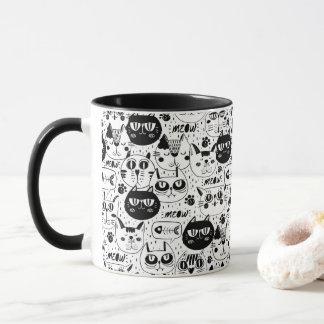 Umrissene Katze stellt Cartoonkaffee-Tasse Tasse
