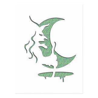 """Umstellungs-Kunst """"schlechte Hexe"""" - grüne Postkarte"""