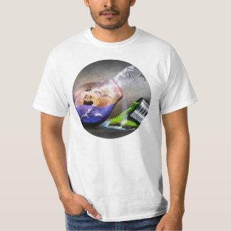 Umweltschutz-Meeresschildkröte-u. Schiffs-Bild T-Shirt