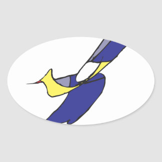 Un garçon avec un oiseau autocollant ovale