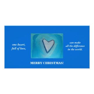 UN HEART/CHRISTMAS CARTES DE VŒUX AVEC PHOTO