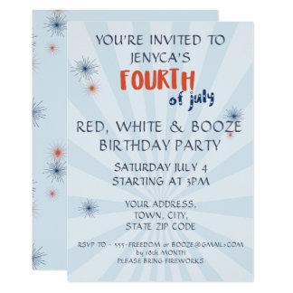 Unabhängigkeitstag-rotes Weiß u. 12,7 X 17,8 Cm Einladungskarte