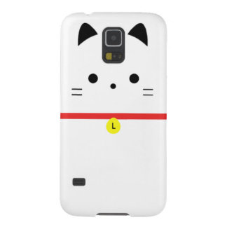 Unbedeutende weiße Katze mit Monogramm Samsung Galaxy S5 Cover