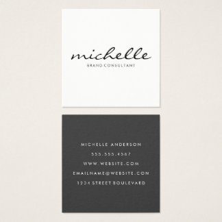 Unbedeutendes einfaches Weiß mit Kursivtext Quadratische Visitenkarte
