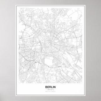 Unbedeutendes Karten-Plakat Berlins, Deutschland Poster