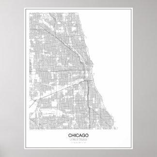 Unbedeutendes Karten-Plakat Chicagos, Vereinigte Poster