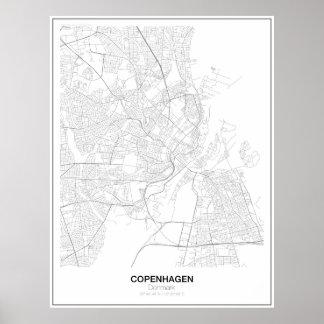 Unbedeutendes Karten-Plakat Kopenhagens, Dänemark Poster