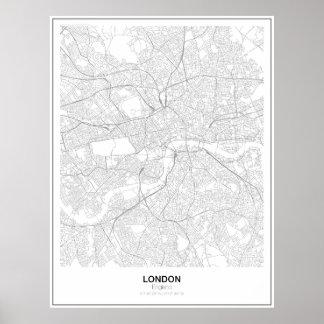 Unbedeutendes Karten-Plakat Londons (Art 2) Poster