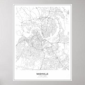 Unbedeutendes Karten-Plakat Nashvilles, Vereinigte Poster