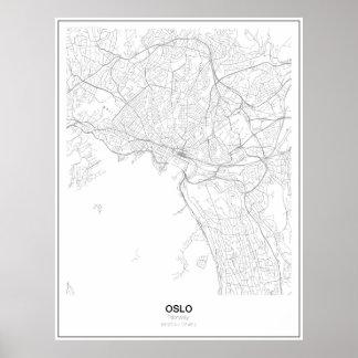 Unbedeutendes Karten-Plakat Oslos, Norwegen (Art Poster