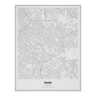 Unbedeutendes Karten-Plakat Paris, Frankreich (Art Poster