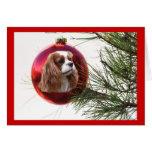 Unbekümmerter Königcharles Spaniel-Weihnachtskarte Grußkarte
