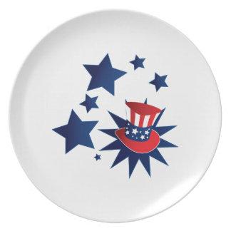 Uncle Sam Hut und Sterne Melaminteller