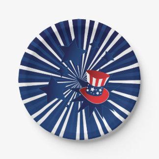 Uncle Sam Hut und Sterne Pappteller