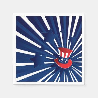 Uncle Sam Hut und Sterne Serviette