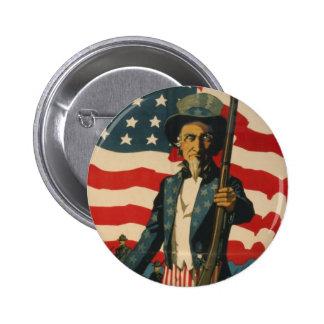 Uncle Sam Knopf Runder Button 5,1 Cm