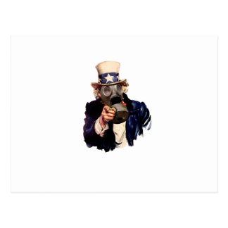 Uncle Sam - Mit Gasmaske!  Zombie-Apokalypse! Postkarte