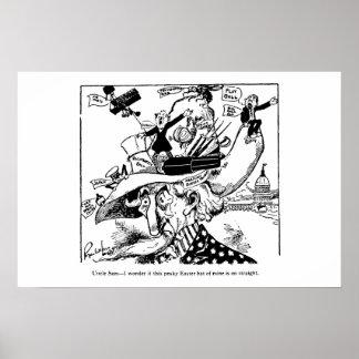 Uncle Sam Ostern Hut-politischer Cartoon 1911 Poster