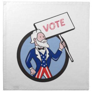 Uncle Sam Plakat-Abstimmungs-Kreis-Cartoon halten Serviette