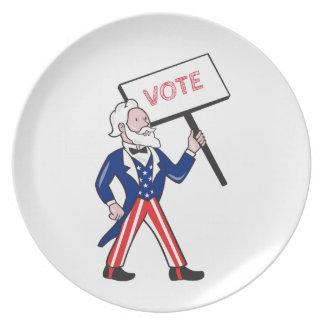 Uncle Sam Plakat-Abstimmungs-stehender Cartoon Teller