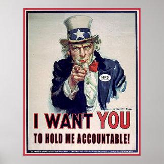 Uncle Sam Sagt, dass 'mich Accountable halten Sie Poster