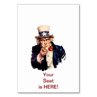 Uncle Sam Tabellen-Platzkarte Karte