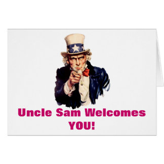 Uncle Sam Willkommen, die Sie kardieren Karte