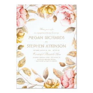 Und Golderröten blumenwatercolor-Verlobungs-Party 12,7 X 17,8 Cm Einladungskarte