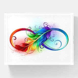 Unendlichkeitssymbol mit Regenbogen-Feder Briefbeschwerer