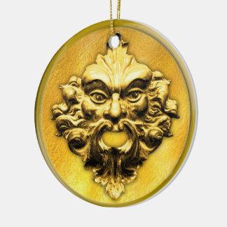 Unerfahrener Mitarbeiter im Gold mit dem Rahmen Keramik Ornament