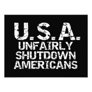 Unfair Abschaltungs-Amerikaner Photographien