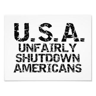 Unfair Abschaltungs-Amerikaner Fotodruck