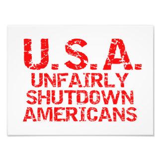 Unfair Abschaltungs-Amerikaner Foto Druck