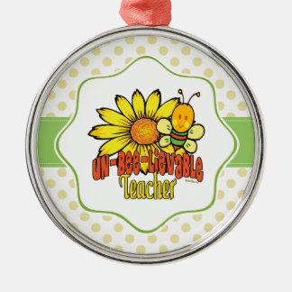Unglaublicher Lehrer mit Sonnenblumen und Bienen Silbernes Ornament