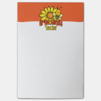 Unglaublicher Lehrer mit Sonnenblumen und Hummel Post-it Klebezettel