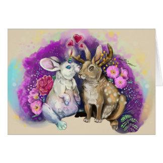 Unibunny küsst Jackalope magische Liebe Karte