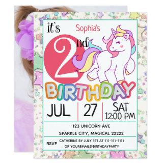 Unicorn-2. Geburtstags-Party Einladung