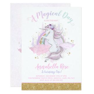 Unicorn Birthday Invitation Rainbow Unicorn Party Karte