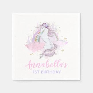 Unicorn Birthday Party Napkin Rainbow Unicorn Serviette