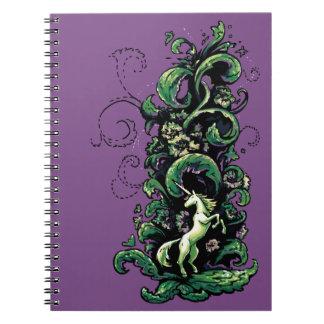 Unicorn blühen spiral notizblock