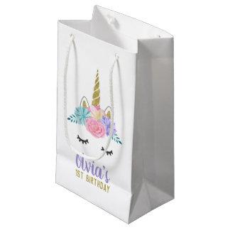 Unicorn Face Gold Glitter Birthday Gift Bag Kleine Geschenktüte