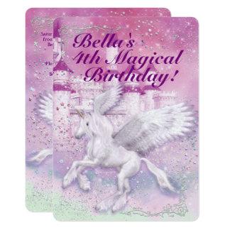 Unicorn-Fantasie-Schloss-Geburtstags-Party 12,7 X 17,8 Cm Einladungskarte